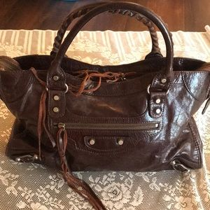 Authentic BALENCIAGA PARIS brown leather city Bag